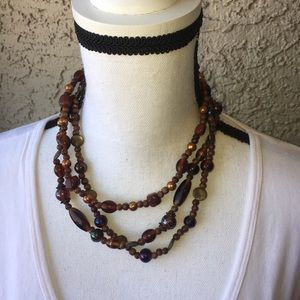 Brown Clay,Brass and Glass Necklace